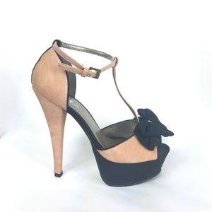 77b0d1bc535 Mixx Shuz Nubuck Platform High Heels with bow